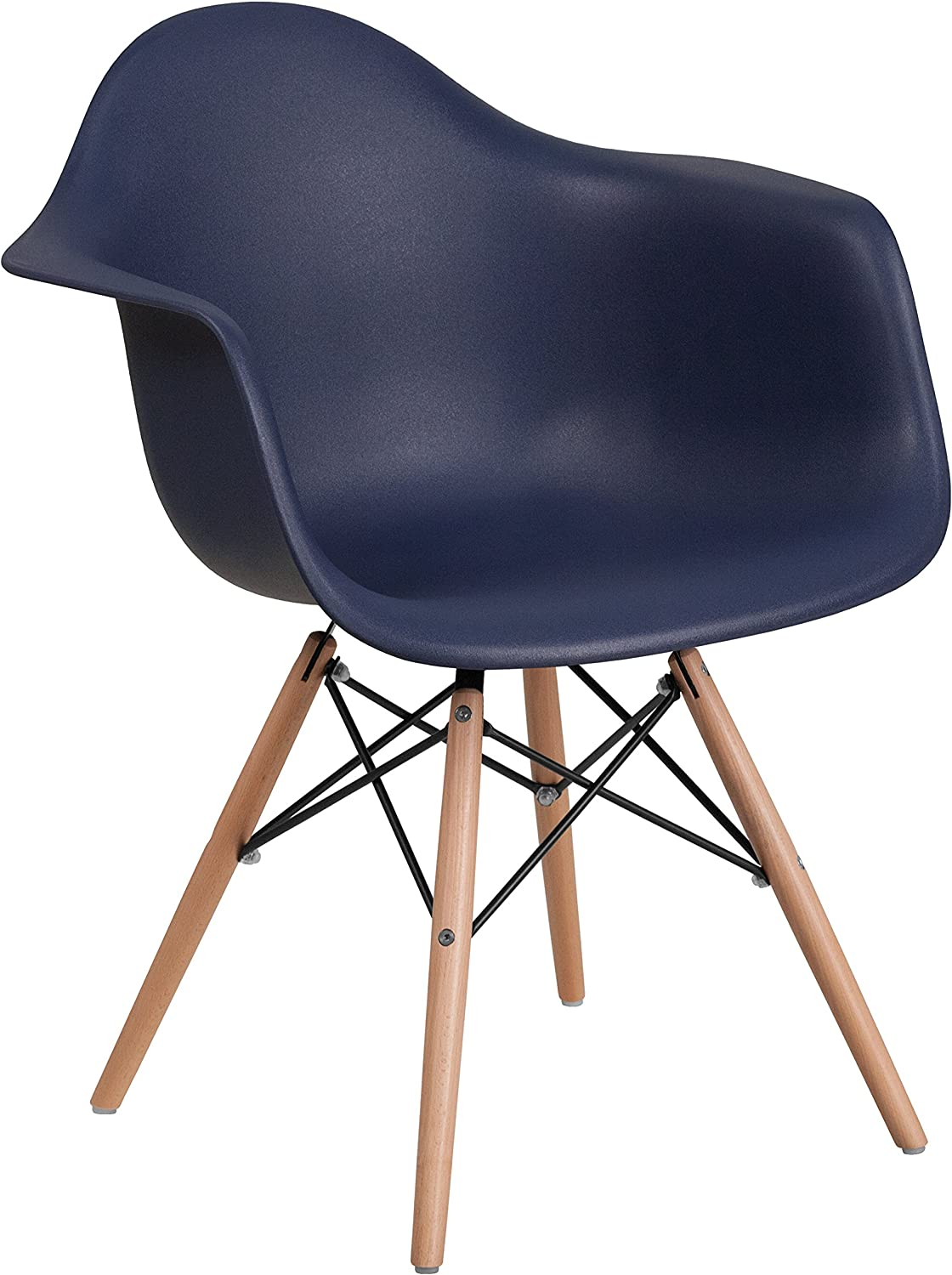 Flash Furniture Alonza Series Navy Plastic Chair with Wooden Legs