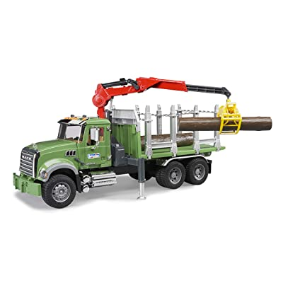 Bruder 02824 MACK Granite Timber Truck with Loading Crane and 3 Trunks: Toys & Games