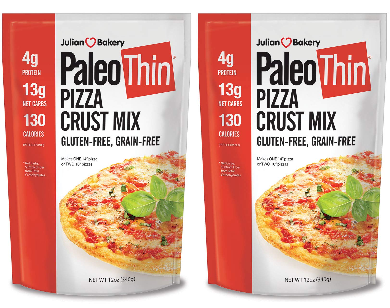 Paleo Pizza Crust Mix (2 Mix Pack) (Gluten-Free & Grain-Free) 12oz by Julian Bakery