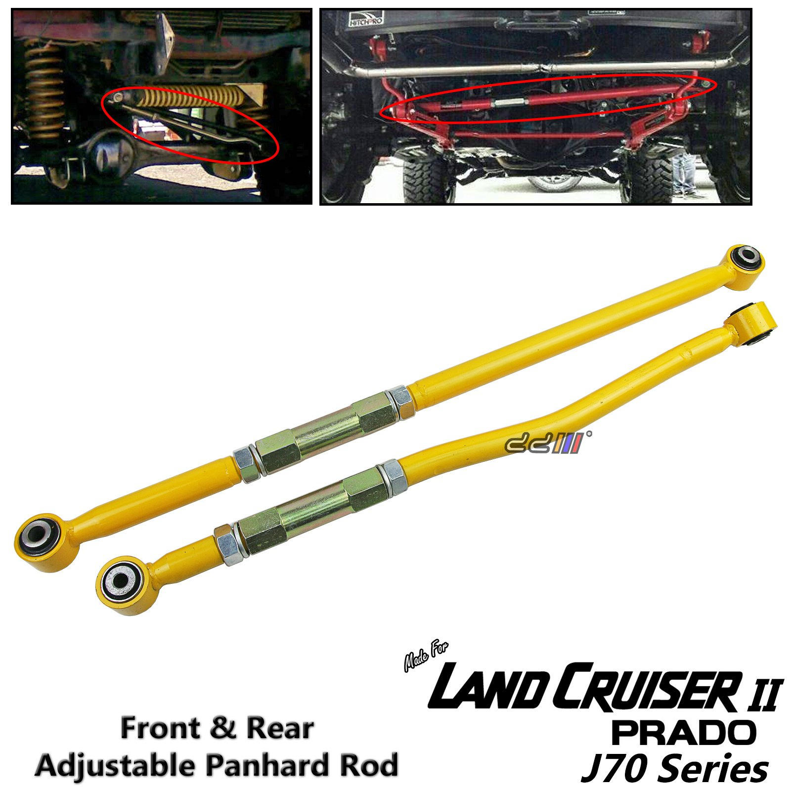Front+Rear Adjustable Panhard Rod Bar For Land Cruiser Prado J70 LJ78 RJ78 90-96