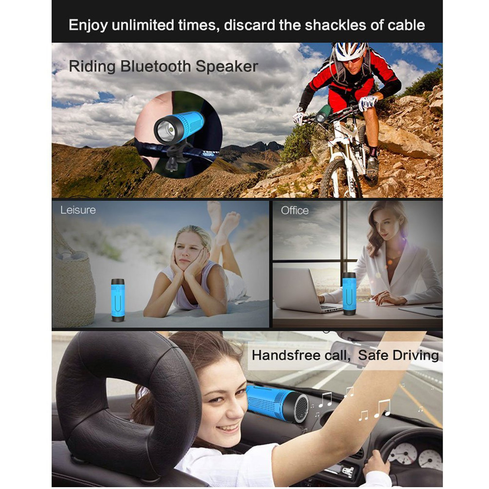 Portable Multifuctional Wireless Bluetooth Speaker 4000mAh Rechargeable Power Bank 3 Mode Emergency Flashlight Handsfree Answering Phone Call TF Card Music Player Mounting Mracket Screw Hole (Blue) by Teastar (Image #2)
