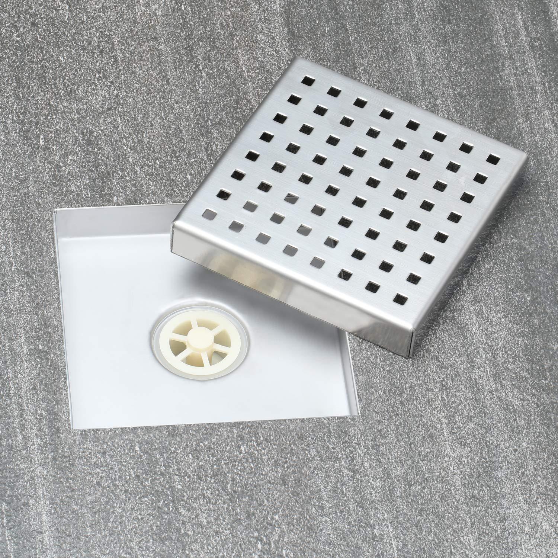 Fryotuc Rustproof Shower Drain 6 Inch Bathroom Floor Drain Brushed Shower Drain Cover with Quadrate Pattern by Fryotuc (Image #7)