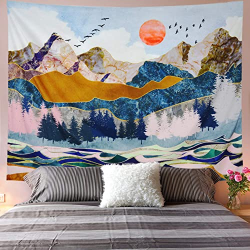 Galoker Mountain Tapestry Landscape Tapestry Sunset Tapestry Watercolor Nature Tapestry Forest Tapestry Abstract Wave Mountain Tapestry Wall Hanging for Bedroom Dorm Room H70.8 W92.5 Inches