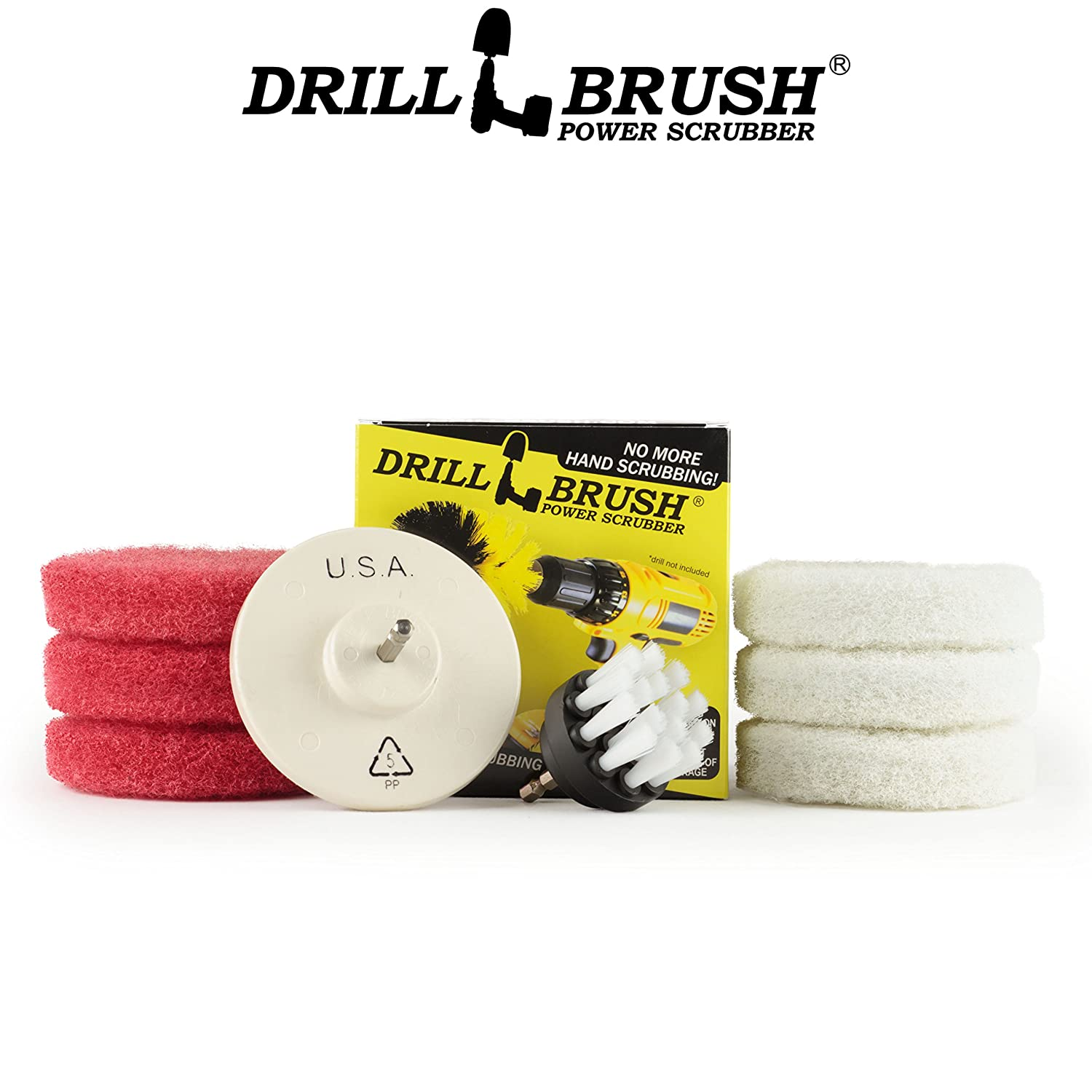 Cleaning Supplies - Bathroom Accessories - Scouring Pad Kit - Grout Cleaner - Scrub Pads - Shower Cleaner - Bathtub -Tile - Bath Mat - Bathroom Sink - Scrubber - Shower Door - Glass Cleaner Drillbrush S2W-4-P6RW-QC-DB