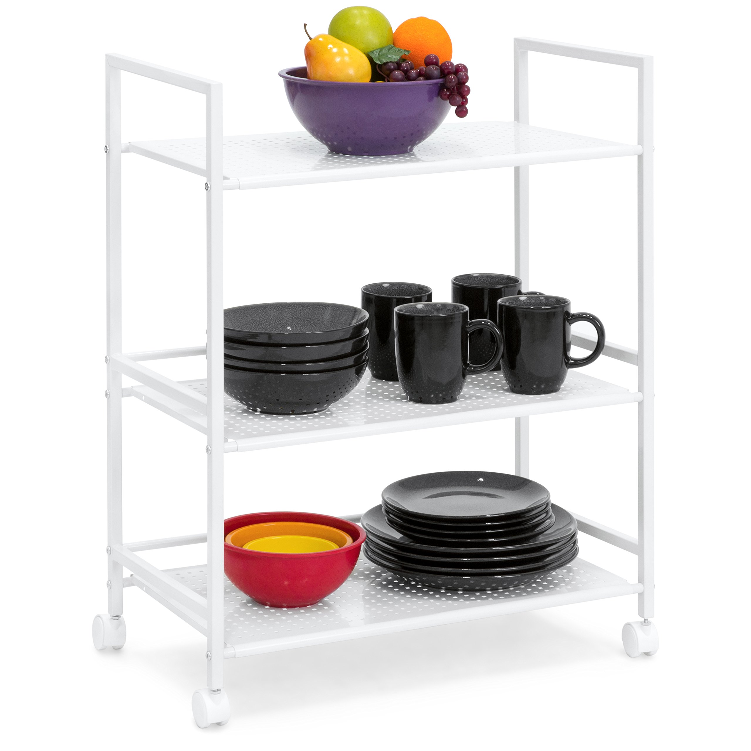 Best Choice Products 3-Tier Wire Rolling Cart for Household Storage, Microwave, Kitchen, Books, or Bathroom