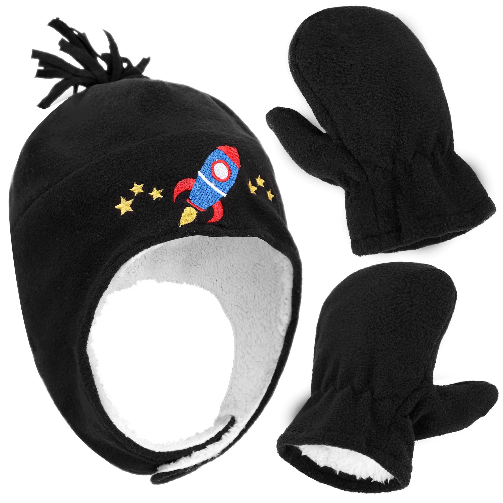 0b00adea130 Boys Sherpa Lined Rocketship Embroidered Fleece Hat and Gloves Set ...