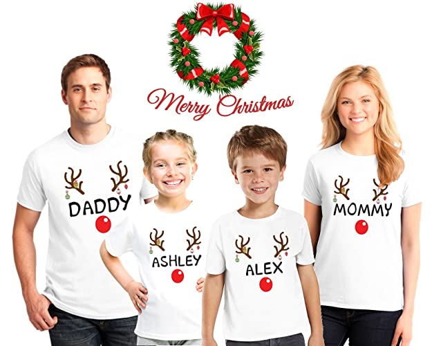 8357453df1 Amazon.com  Reindeer Christmas Family Pajama Matching Shirts ...