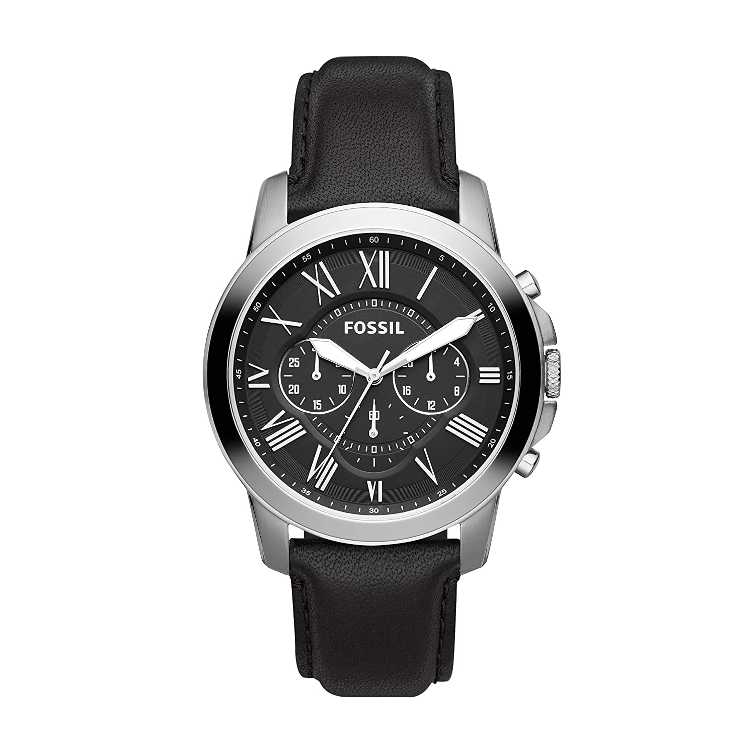 Amazon Com Fossil Men S Grant Quartz Stainless Steel And Leather