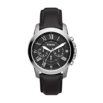 3d6b5da2b Amazon.com: Fossil Men's Grant Quartz Stainless Steel and Leather  Chronograph Watch, Color: Silver, Black (Model: FS4812IE): Fossil: Watches