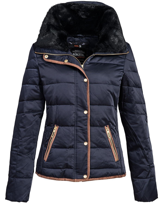 Winterjacke   Wintermantel   Stepp-Jacke für Damen Modell 44204B von Sublevel - eleganter Daunen Kurz-Mantel im schlanken Parka-Stil mit Fellkragen aus Kunstpelz