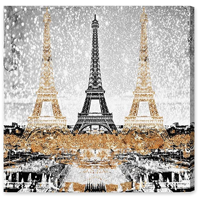 Amazon.com: Triple Paris Gold by Oliver Gal | Modern Premium Canvas Art Print. The Cities Wall Art Decor Collection. 20x20 inch, Gold: Wall Art