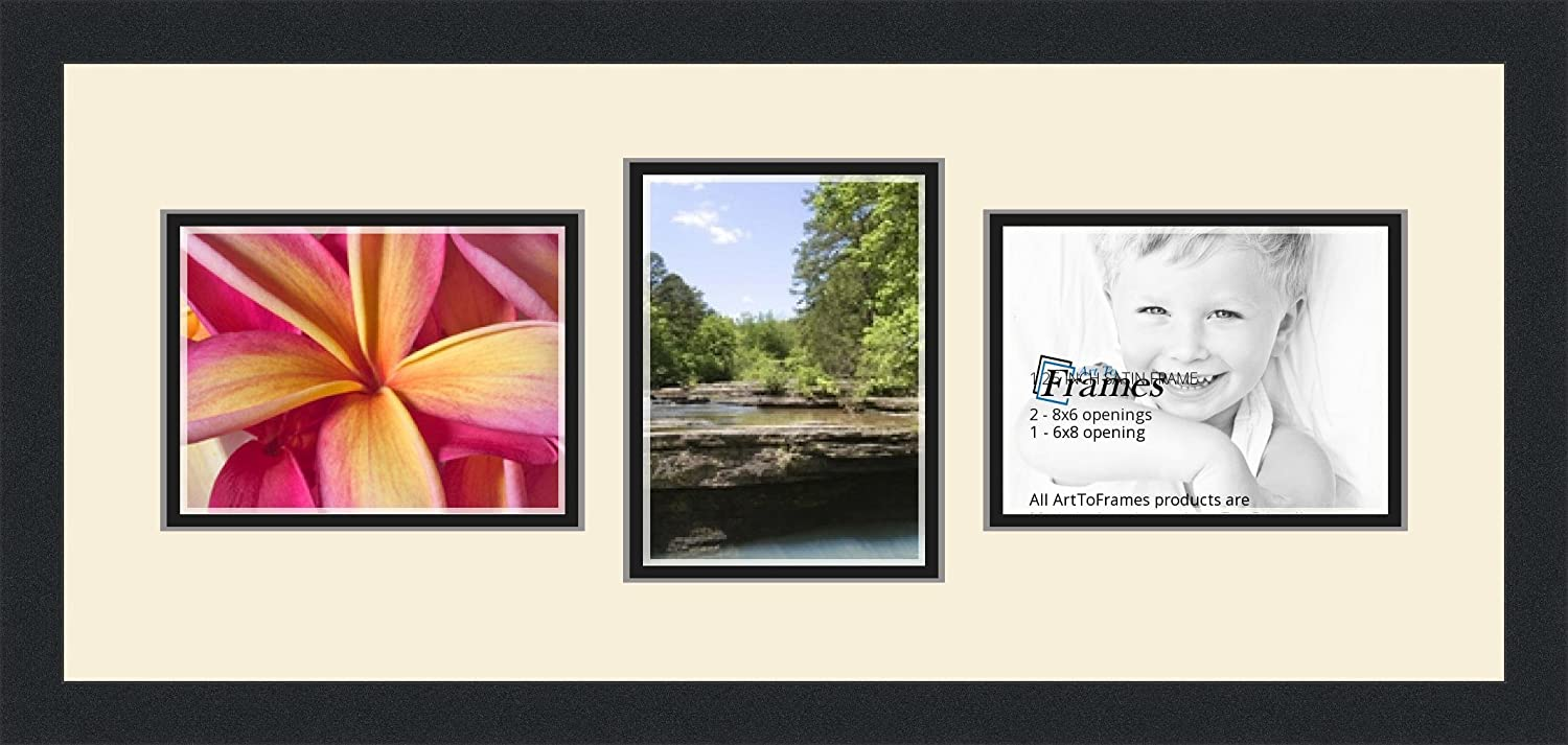 Art to Frames Double-Multimat-809-128//89-FRBW26079 Collage Photo Frame Double Mat with 3-6x8 Openings and Satin Black Frame