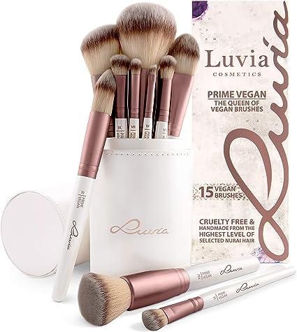 """Brochas de Maquillaje Profesional y Exclusivas """"PRIME VEGAN"""" con Estuche de Satín (tubo) – Set de 15"""
