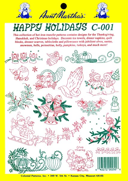 Amazon com: Aunt Martha's Happy Holidays Iron On Transfer Pattern