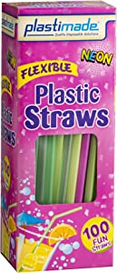 [100 Count] Plastimade Fun Colored Plastic Disposable Drinking Flexible Straws For Home, Office, Wedding, Events, Parties, Take Out, Water, Juice, Soda, Beer, Cocktails, (1 Pack)
