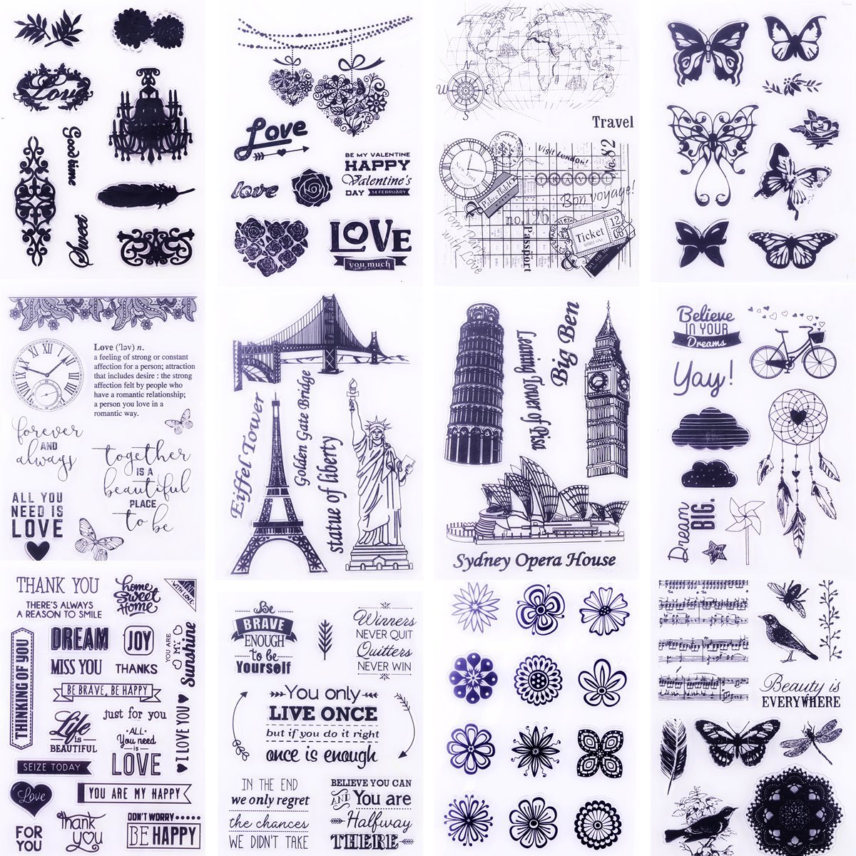 Clear Stamps for Cards Making 8 Sheets Scrapbook Rubber Silicone for DIY Scrapbooking Seal Photo Album Wish Decorative Butterfly Love Heart Words Kits(12 Sheets)