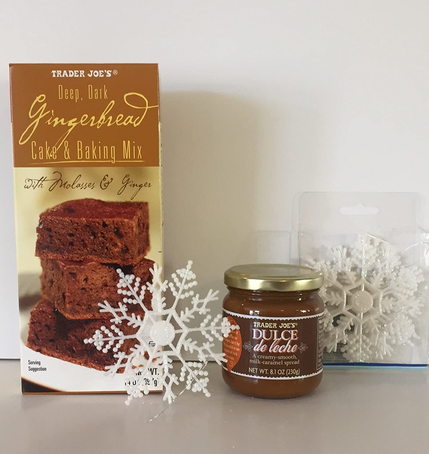 Amazon.com : Trader Joes Gingerbread Cake Baking Mix And TJs Dulce De Leche Milk-Caramel Spread Plus A Free Set of 5- 4in Glitter Christmas Snowflake ...