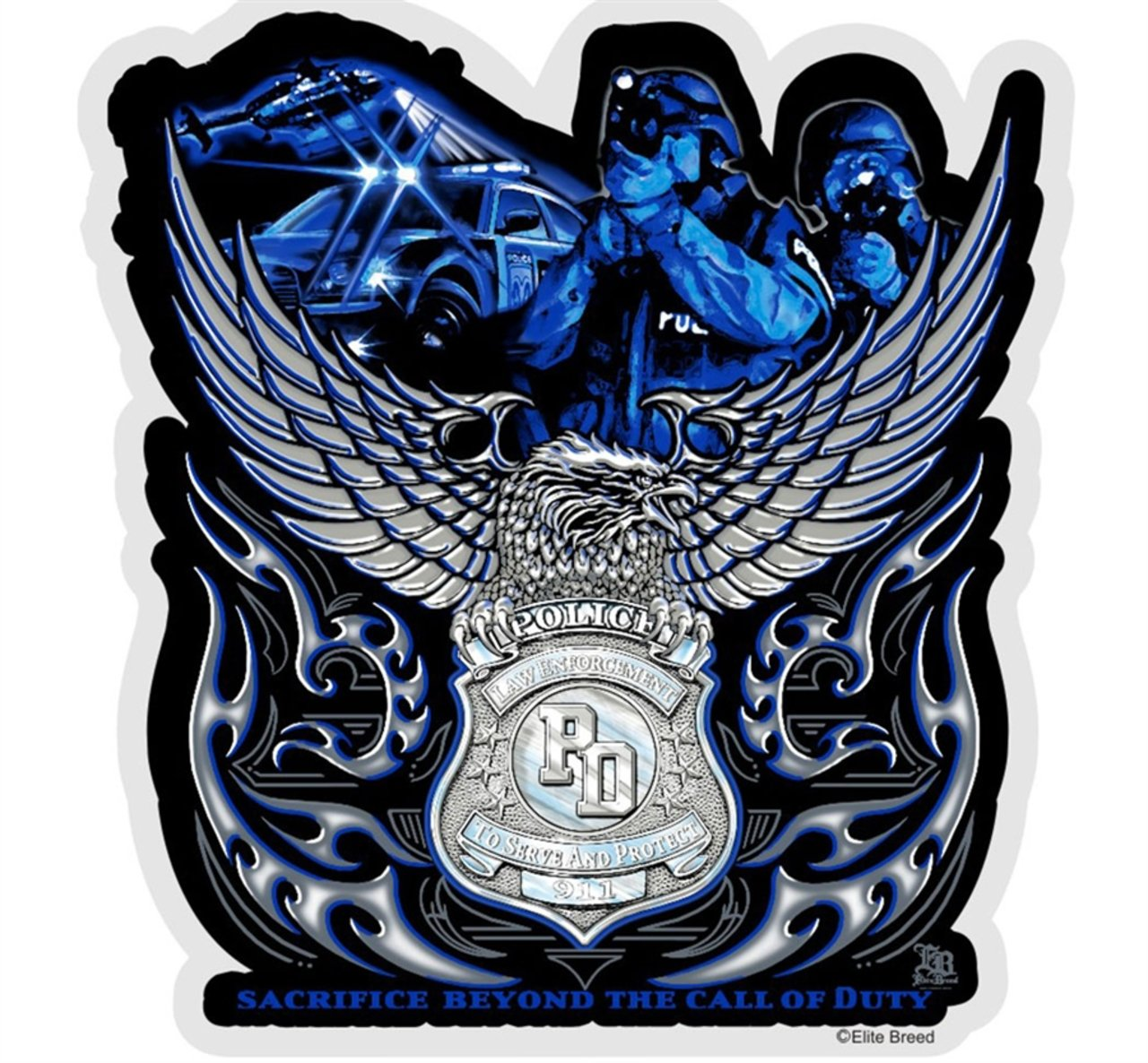 Rescuetees EB Eagle Law Enf Sacr Bey Call Duty Decal - 4 in by Rescuetees.com