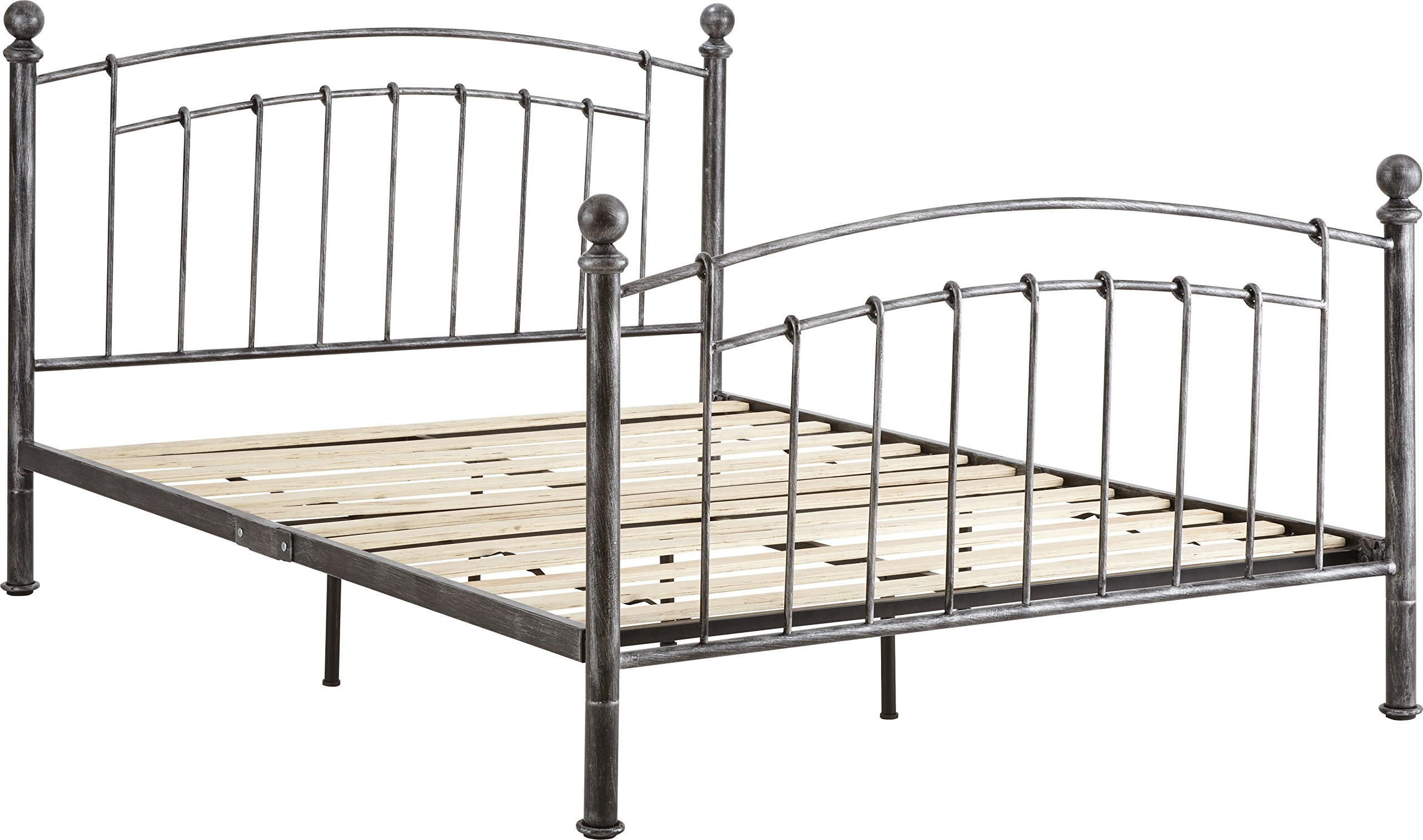 Flex Form Chandler Metal Platform Bed Frame/Mattress Foundation with Headboard and Footboard, Queen