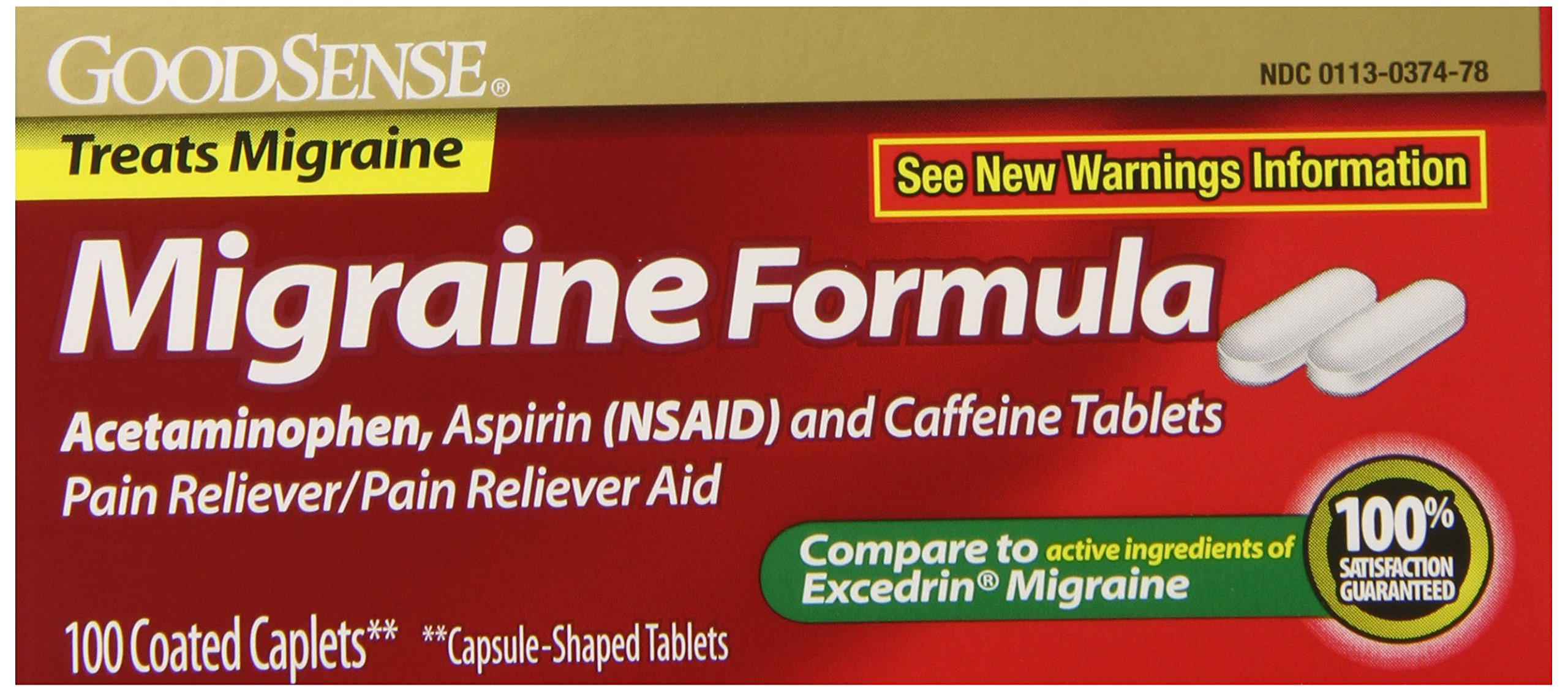 GoodSense Migraine Formula Caplets, Acetaminophen, Asprin (NSAID) and Caffeine Tablets, 100 Count (Pack of 24) by Good Sense