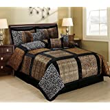 7 Piece Animal Kingdom Safari Patchwork Comforter Set Queen (MARTEN)