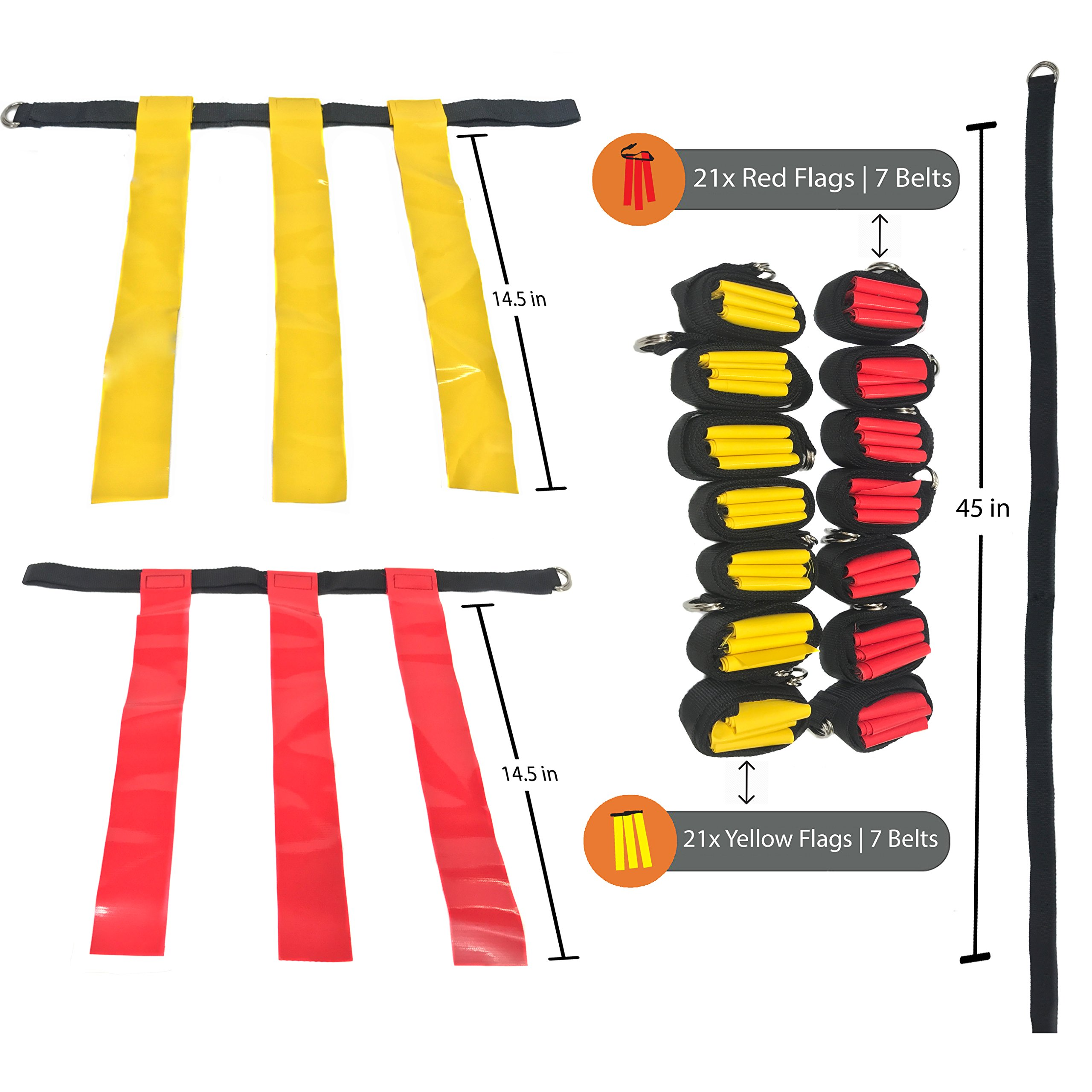 14 Player Flag Football Set - 65 Total Pieces, Football Flags For Kids And Adults, Youth Football Kit | Includes 14 Belts, 3 Flags Each, 6 Cones And Stand, Carrying Bag And a BONUS Kicking Tee by Certamen Athletics (Image #2)