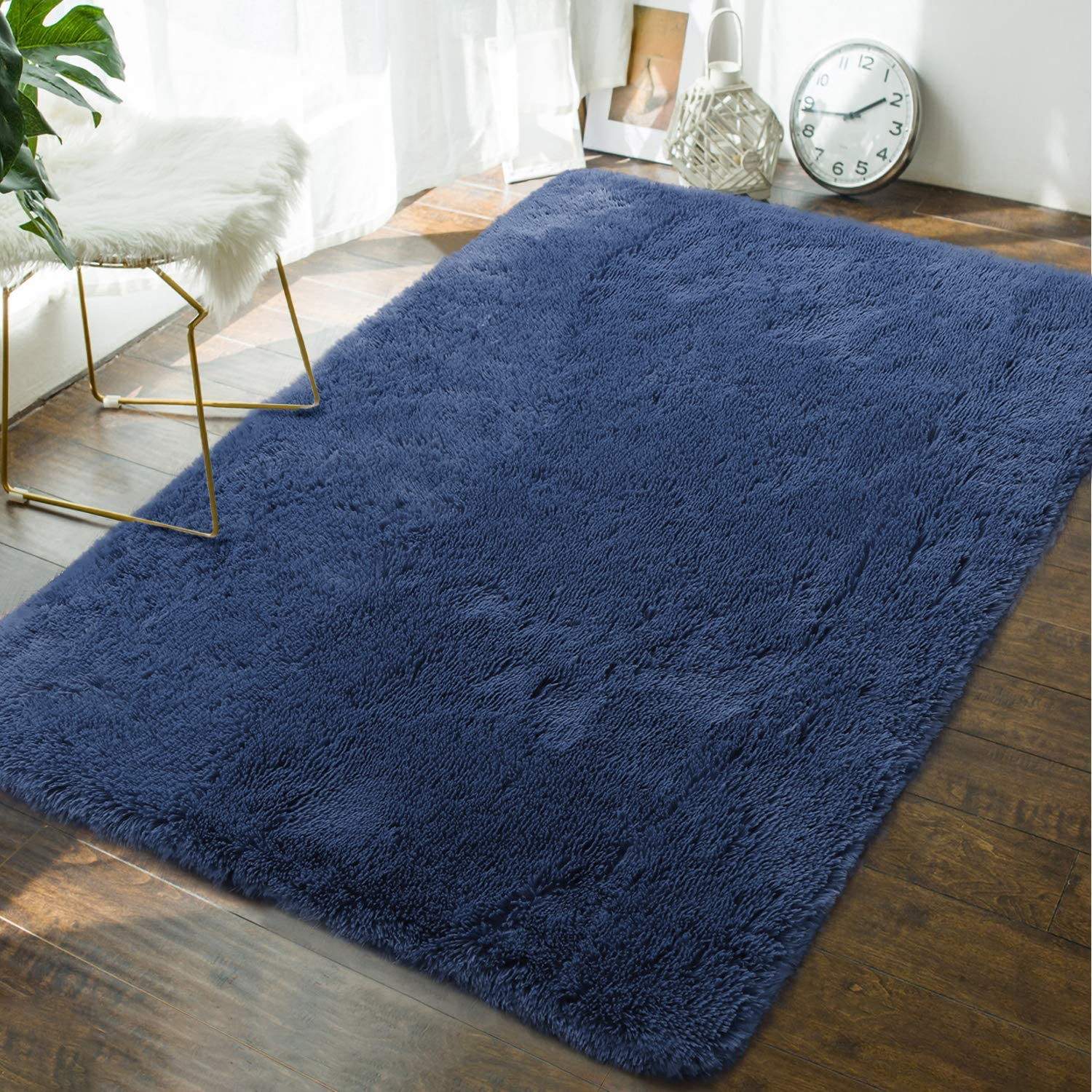 Andecor Soft Fluffy Bedroom Rugs - 4 x 6 Feet Indoor Shaggy Plush Area Rug for Boys Girls Kids Baby College Dorm Living Room Home Decor Floor Carpet, Light Navy