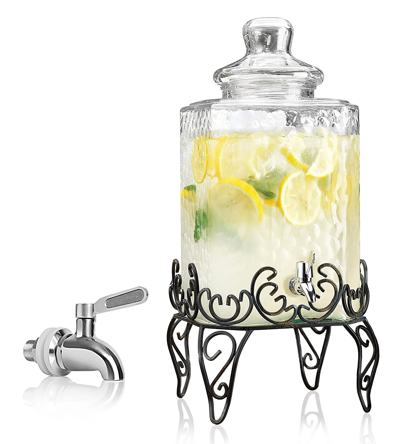 Elegant Hammered Glass Beverage Dispenser with Scroll Iron Stand - 2.25 Gallon - Stainless Steel Leak Free Spigot Included - Home Bar & Party Vintage Drink Dispenser (Black)