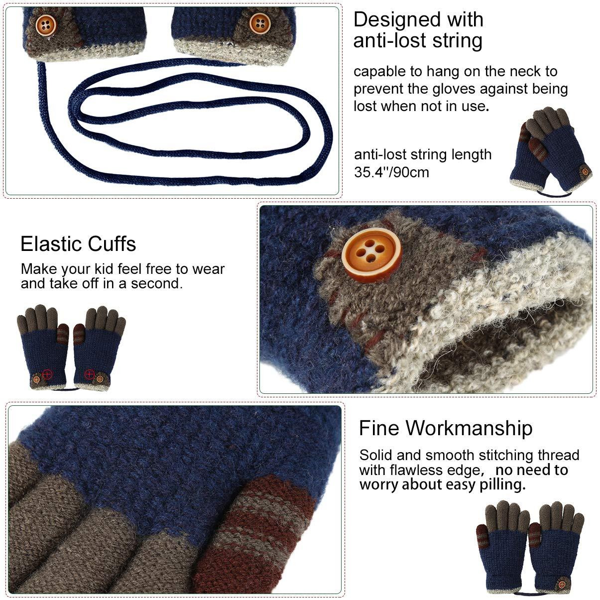 VBG VBIGER Kids Winter Gloves Girls Boys Warm Knitted Gloves Fleece Lined Full Finger Gloves for Children 4-8 Years Old (One Size, Color 1)