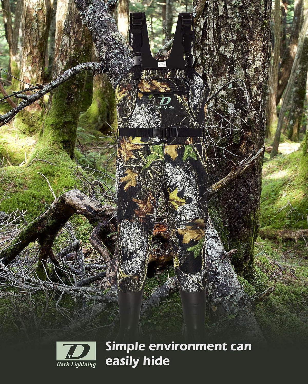Camouflage-Wathose Dark Lightning Neopren-Wathose f/ür Herren und Damen hohe Brust mit 800 g isolierten Gummistiefeln f/ür Herren//Damen