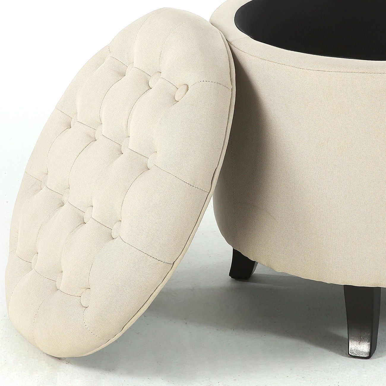 Storage Beige Ottoman Coffee Table Elegant w/ Button Tufted Accents Upholstered