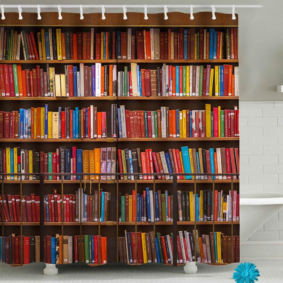 FAITOVE Library Bookshelf Shower Curtain Vintage Educational Bookcase Shower Curtain Readable Books Fabric Polyester Waterproof Bathroom Decor with Hooks 72