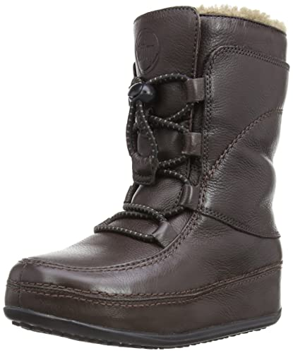 Amazon.com | FitFlop Women's Mukluk Moc Lace Up Leather Boot | Mid ...