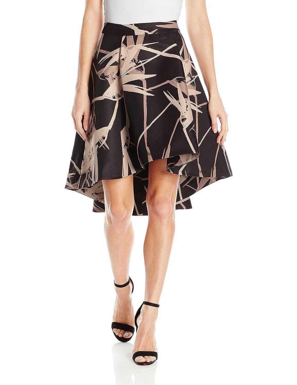 Black Paradise Print Halston Heritage Women's Hilo Printed Structure Skirt