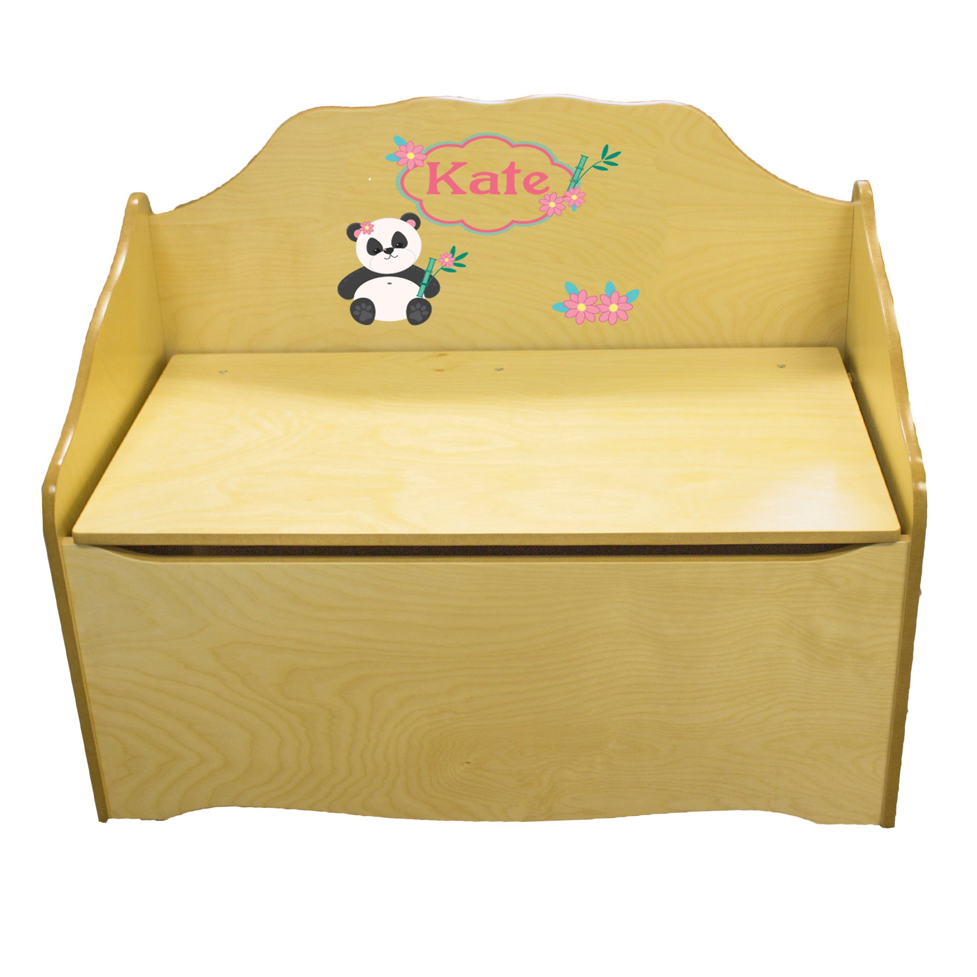 Personalized Panda Bear Childrens Natural Wooden Toy Chest