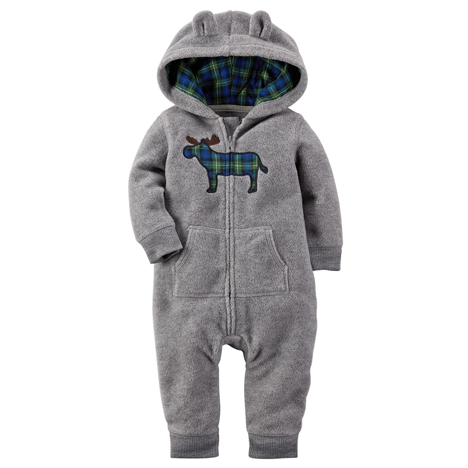 cd76681eff88 Amazon.com  Carters Baby Boys Applique Hooded Fleece Jumpsuit Moose ...
