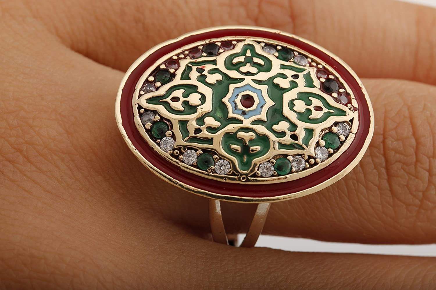 Motif Style Turkish Handmade All Authentic Jewelry Oval Shape Red Enamel and Round Cut Emerald Topaz 925 Sterling Silver Ring Size All