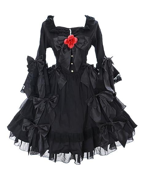 Kawaii-Story JL de 662 Inoxidable Manga Larga Volantes Lazos Vestido Negro Victorian Disfraz Gótico