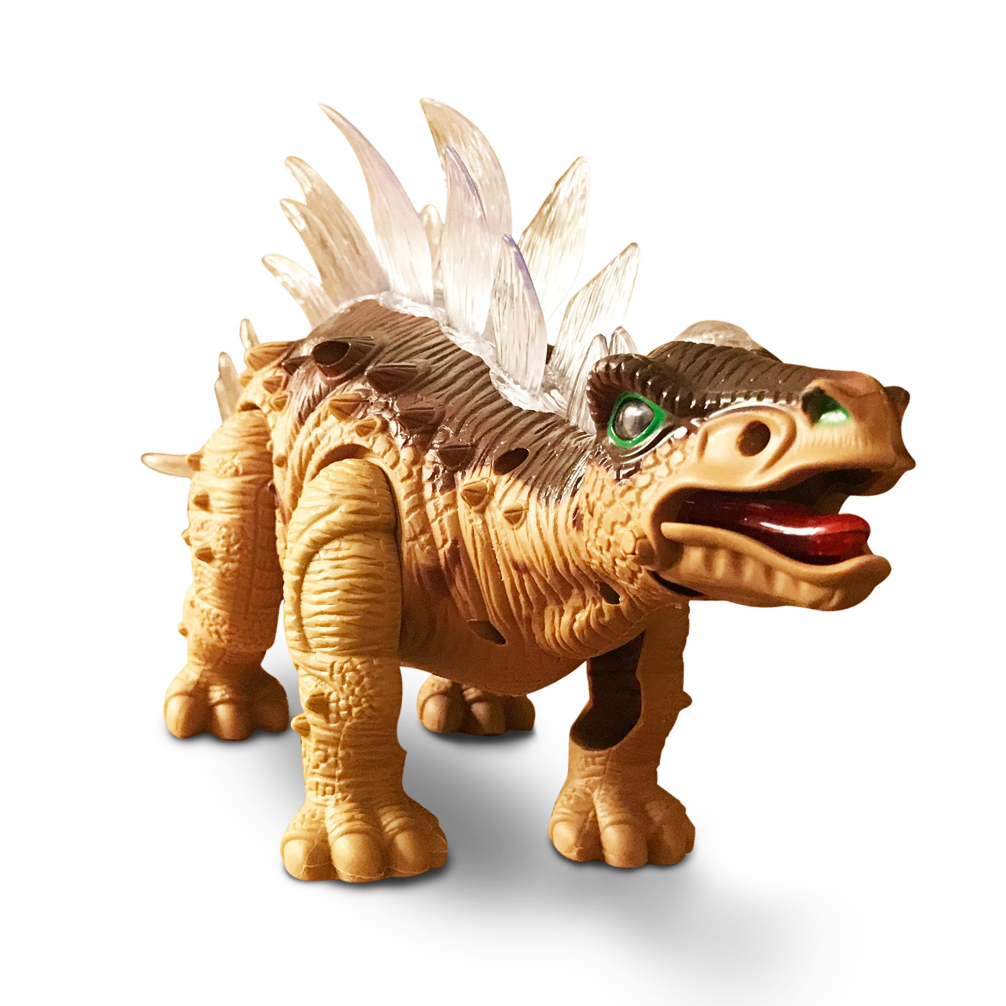 LilPals Live Action Brown Stegosaurus Walking Dinosaur - Battery Powered, with Dinosaur Sounds and Color Changing Lights (Brown)