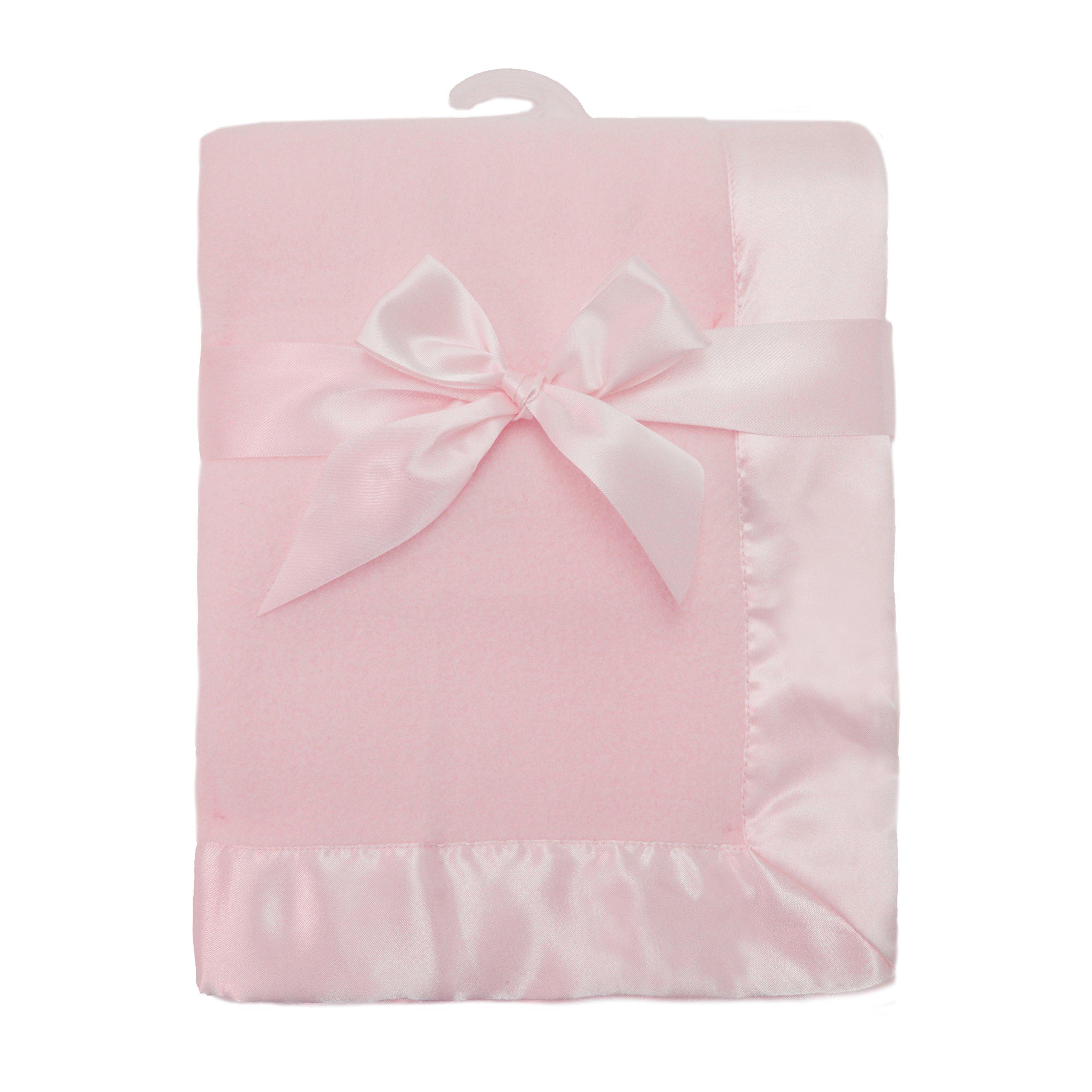 "American Baby Company Fleece Blanket 30"" X 40"" with 2"" Satin Trim, Pink"
