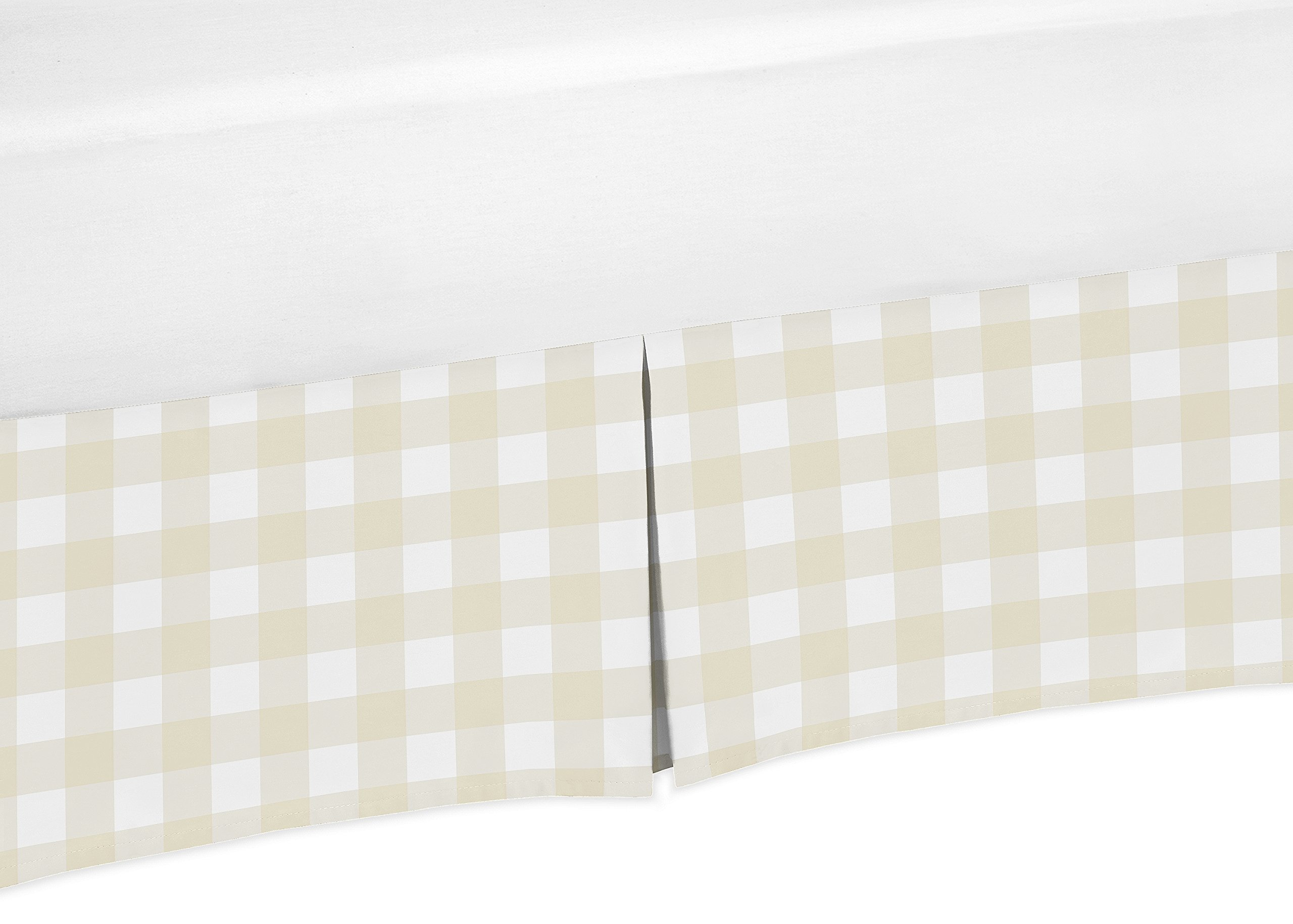 Sweet Jojo Designs Beige and White Buffalo Plaid Check Baby Boy Pleated Baby Crib Bed Skirt Dust Ruffle for Woodland Camo Collection by Sweet Jojo Designs