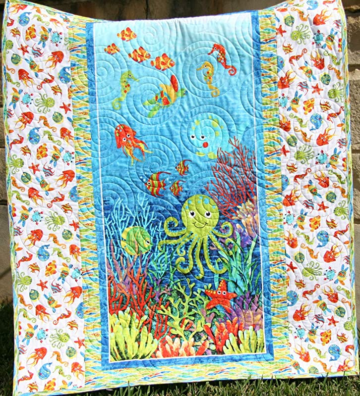 SALE! Ready to ship Nautical Sailboat and Whale Baby Quilt in Aqua Cobalt and Navy Blue