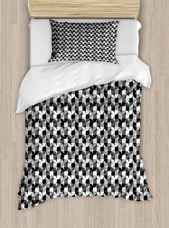 黒とグレーのツインサイズ羽毛布団カバーセット、市松模様の円形モチーフの現代的なスタイルのシェイプ、装飾的な2ピース寝具セット、1枕カバー、ブラックグレーホワイト B07PS7JBFX A06 Single 170 X 210 cm