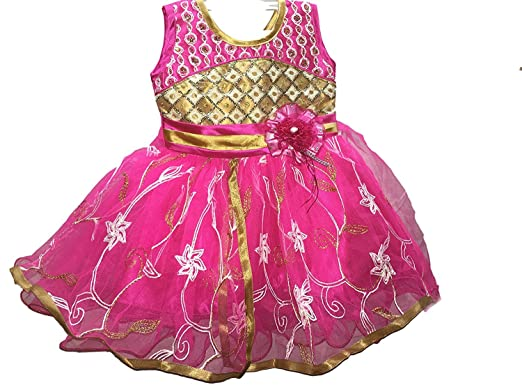 19ce93fc1af3 Pack of Two Classic Blue   Pink Bhoomi Cute Baby Net Frocks for Baby ...
