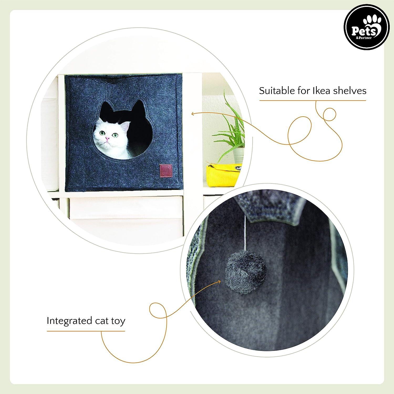 Pets & Partner® Gato Cueva/Gato cabaña Fieltro con Integrado ...