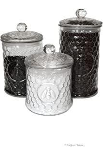 Set 3 Large Glass Embossed Beehive Bee French Kitchen Canisters Storage Jars