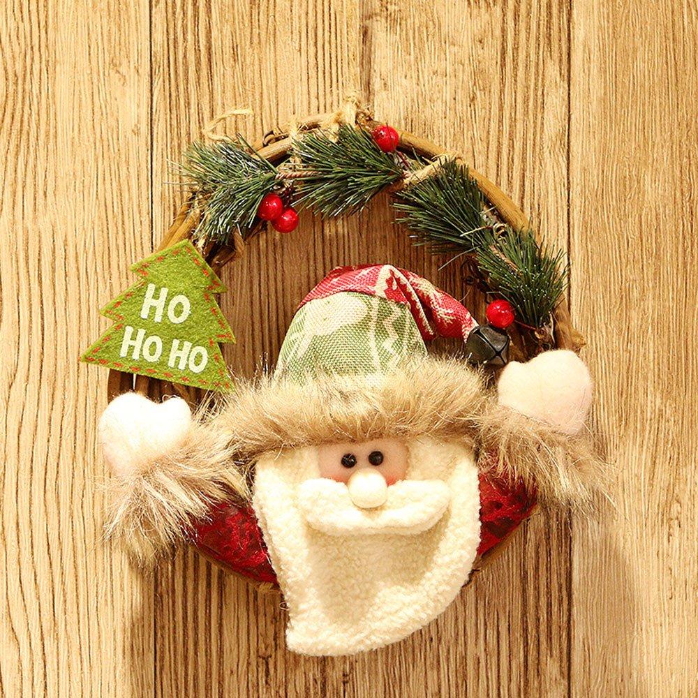 Convinced Summer Front Door Decor,Seasonal Décor,Christmas Party Poinsettia Pine Wreath Door Wall Garland