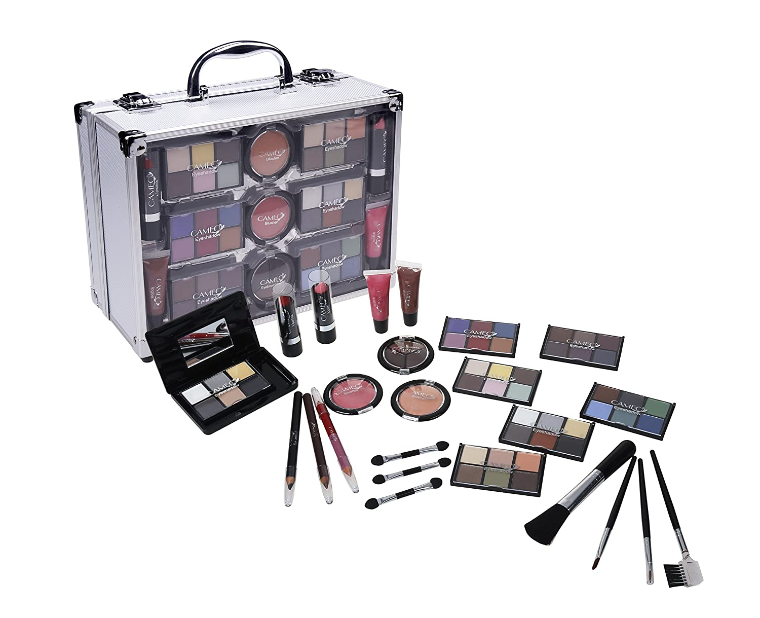 Cameo Carry All Trunk Makeup Kit with Reusable Aluminum Case Exclusive Holiday Gift Set, Black/White