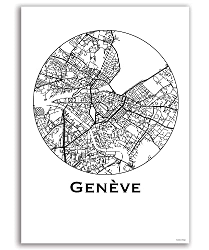 Poster Geneva Switzerland City Map Street Map Wall Decor Decorative on
