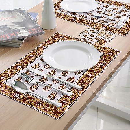 Dungri India® Lujo servilletas y mantel individual mesa Linens Set – incluye 6 manteles individuales y 6 servilletas – 100% algodón – cuadro de impresión de bloque accesorios: Amazon.es: Hogar
